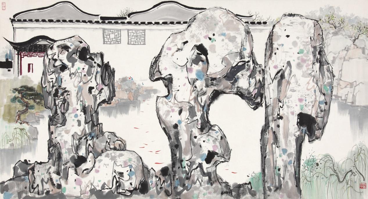 吴冠中《苏州园林》为该机构九十年代直接从画家手中购得,作品描绘